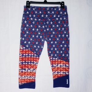 Reebok Red White & Blue Star Capri Leggings Medium